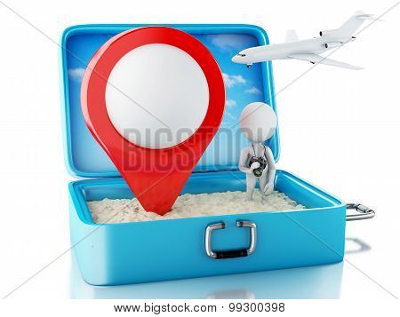 3D White People With Map Pointer In A Travel Suitcase