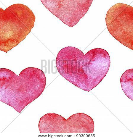 seamless pattern with hearts painted by watercolor