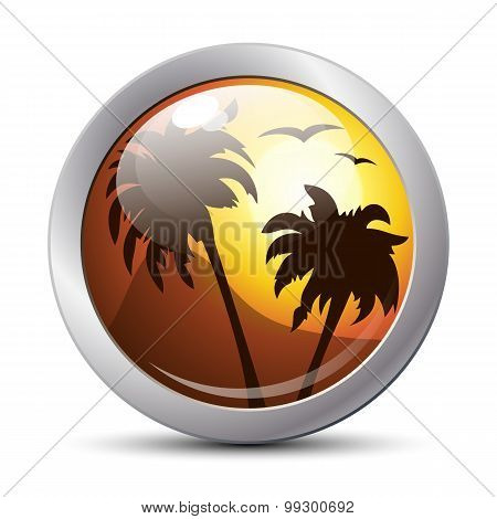Tropical Sunset Icon. Vector