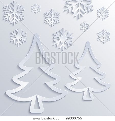 Winter Background With Christmas Tree And Snowflakes