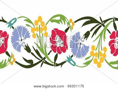 Colorful Vintage Wildflowers Border Floral Background Seamless Vector Horizontal Illustration Ethnic