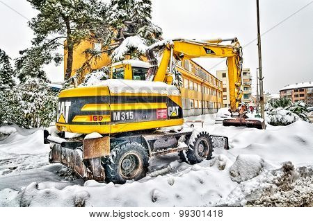 Metkovic, Croatia - February 12: Excavator Cleans The Streets Of Large Amounts Of Snow In Metkovic,