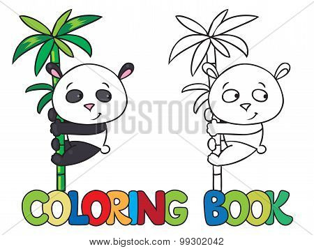 Coloring book of little panda on bamboo