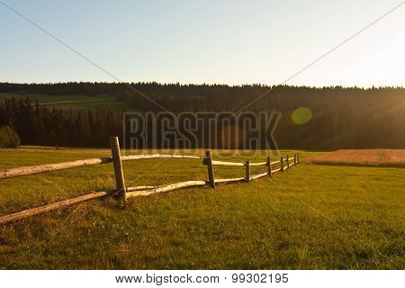 Rural Landscape On Sunset