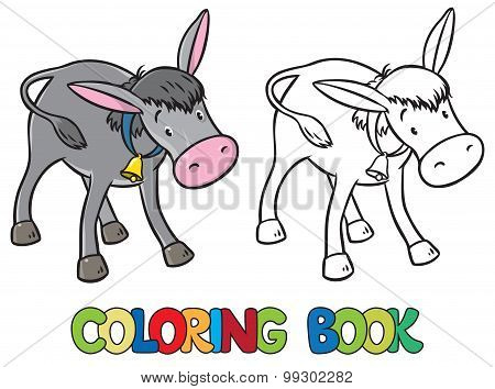 Coloring book of funny donkey