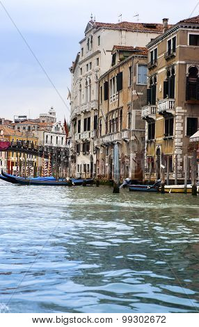 Canal Grande with boats Venice Italy