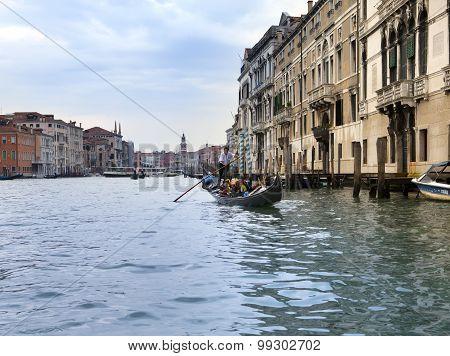 VENICE ITALY - SEPTEMBER 2010: Gondola sailing on Canal Grande on September 24 2010 in Venice Italy.