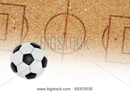 Sand Football Pitch And The Ball