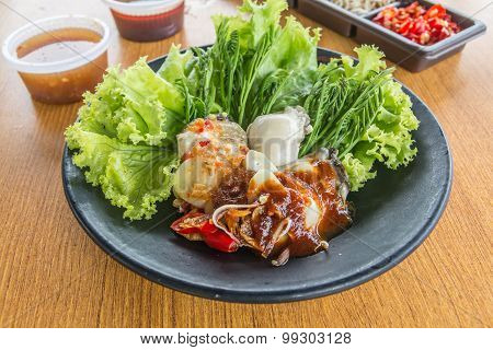 Thai Local Food, Oyster With Spicy Sauce, Eat With Lettuce And Acacia