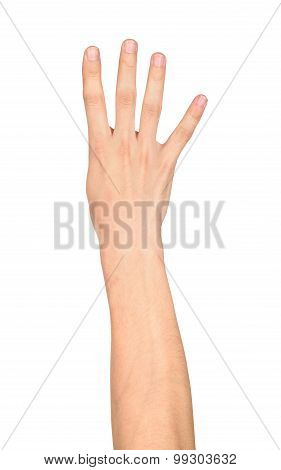 Hand Shows Four Fingers On An Isolated White Background