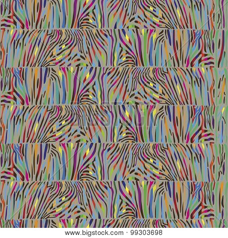 Seamless pattern with multicolored Zebra skin