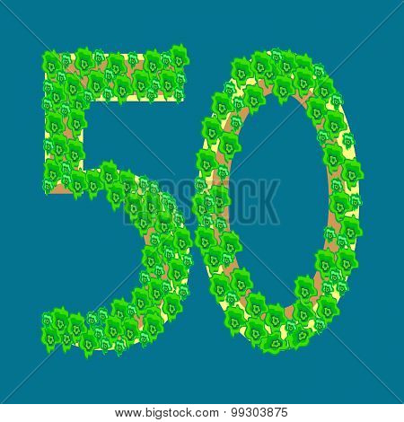 Numeral Fifty 50 Anniversary Celebration Tropical Island