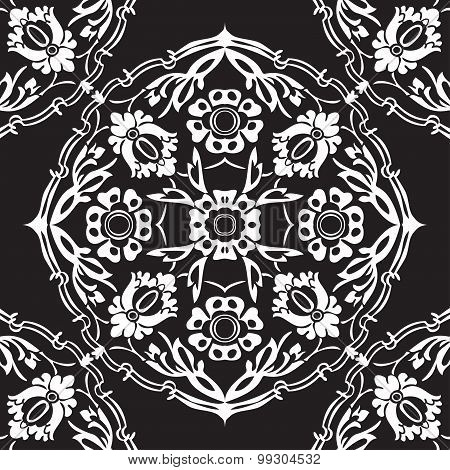 Black And White Round Floral Border Corner Abstract Background Vector