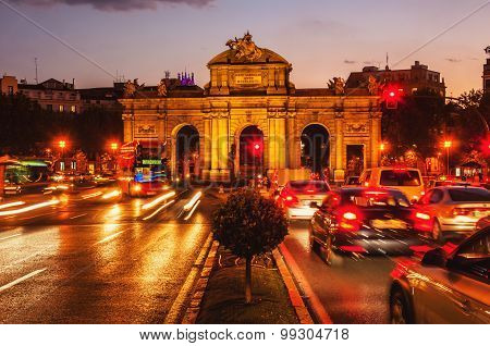 Puerta de Alcala at sunset in Madrid, Spain