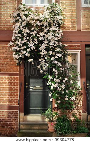 House Entrance Covered In Flowers