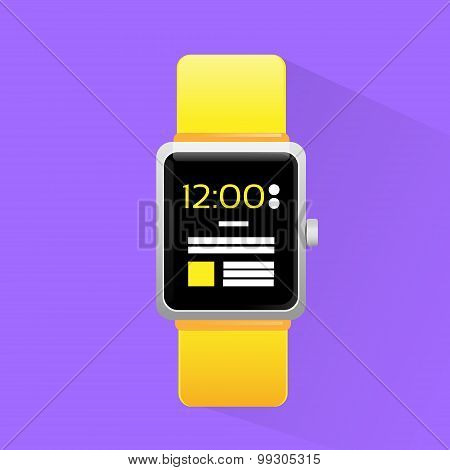 Smart Watch Electronic Device Icon Flat Design Vector