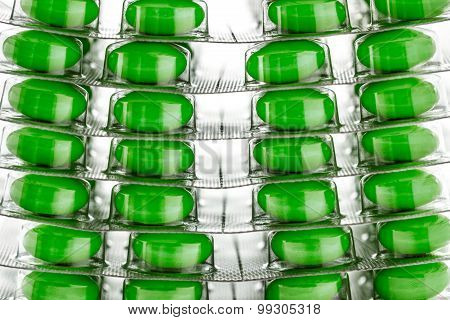 Tablets In Plastic Packing As Background