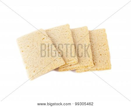 A slices of crispbread on white background.