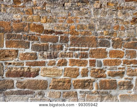 Old wall made of rough brown stones