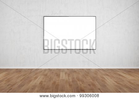 Flat TV screen hanging on a wall in a living room (3D Rendering)