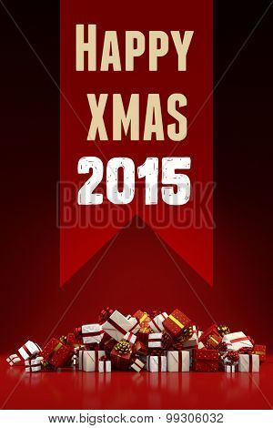 Happy Xmas 2015 card with heap of christmas gifts (3D Rendering)