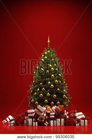 Heap of gifts under a christmas tree on a red background with copy space (3D Rendering)