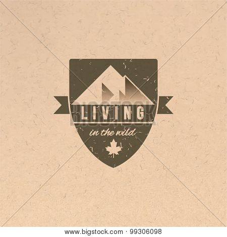 Living in the wild label in vintage style