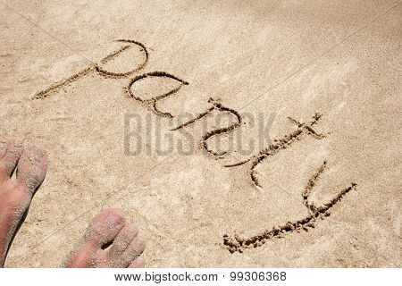 Party handwritten in sand for natural, symbol, tourism or conceptual designs