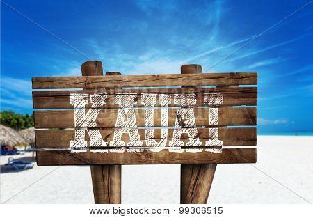 Kauai wooden sign on the beach