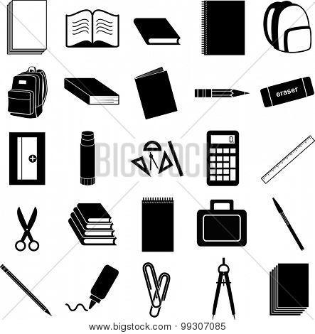 school supplies symbols set