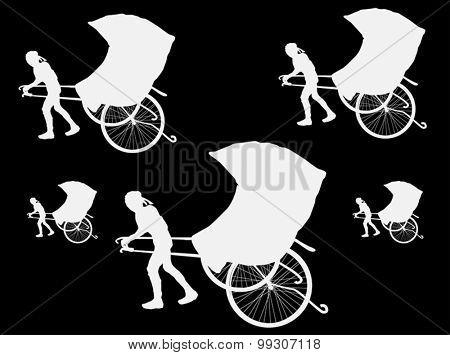 illustration with rickshaw isolated on black background