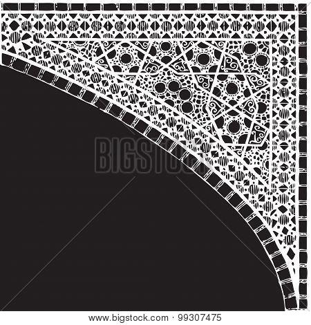 Geometric corner frame pattern ethnic tile colorful vector