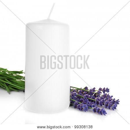 Lavender flowers with candle isolated on white