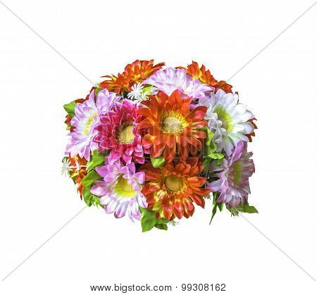 Beautiful Artificial  Bouguet Flowers On White