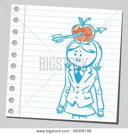 Businesswoman with apple and arrow on her head