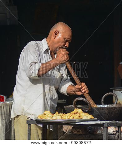 Indian Man Selling Street Foods In Delhi
