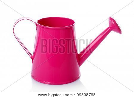 Metal pink water can isolated on white