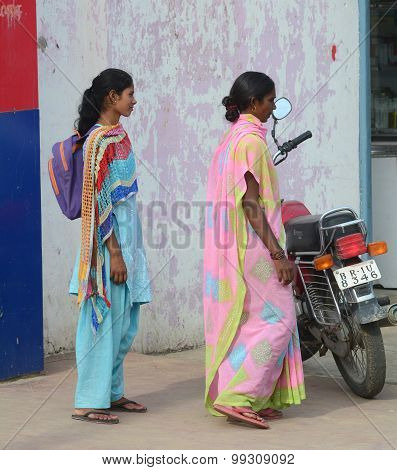 Indian Women On Street Wearing Traditional Sari