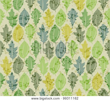 Green seamless pattern with leaves. Vintage style