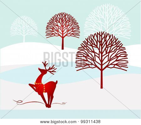 winter landscape bare trees and reindeer with bells for harness