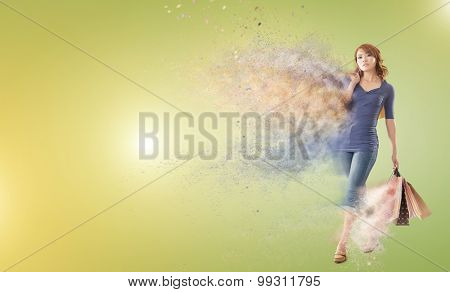 Shopping woman holding bags with copyspace.