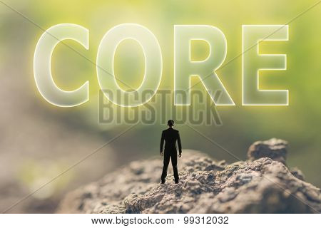 Concept of focus with a person stand in the outdoor and looking up the text over the sky in nature background.