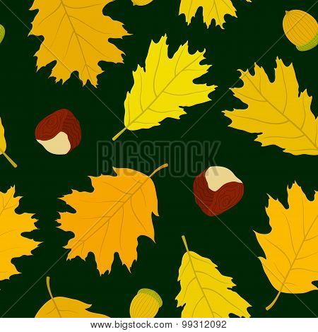 Seamless pattern of Canadian oak leaves, acorns and chestnuts. Dark green background. Autumn forest.