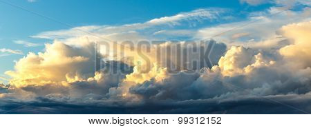 Sunset On Blue Sky Background