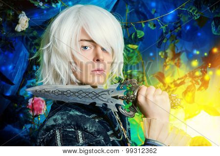 Beautiful blond elf with a dagger in his hand in the magic forest. Fantasy. Anime style.