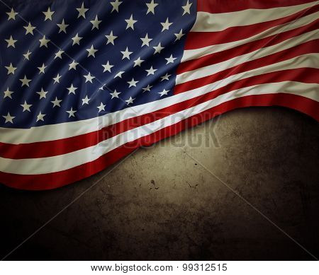 American flag on brown background