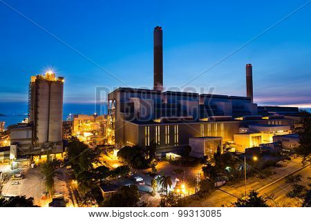 Cement Plant during sunset