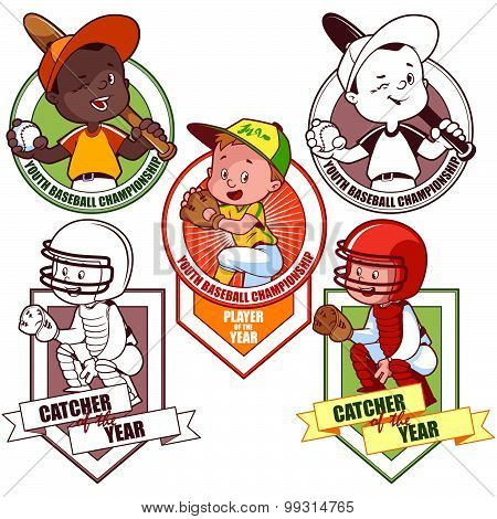 Logo For The Junior Baseball Tournament. Vector Illustration On White Background.