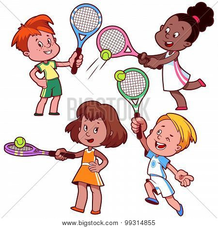 Cartoon Kids Playing Tennis. Vector Clip Art Illustration On A White Background.