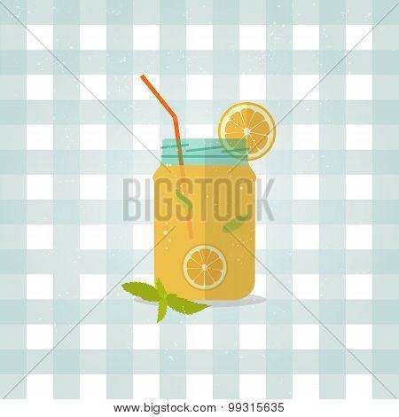 Minimalist lemonade icon in flat style.